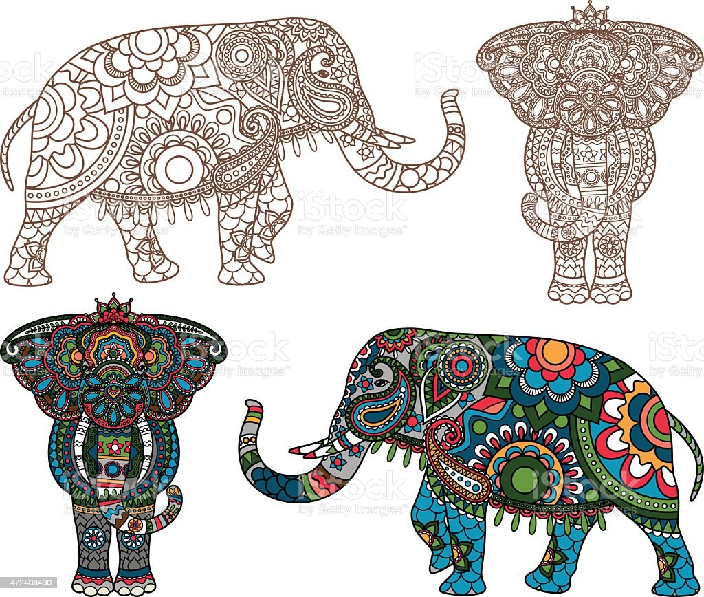 Free Vector Illustration Juniper: Vector Indian Elephant Stock Vector Art & More Images Of
