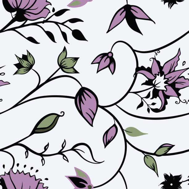 Vector indio ornamentos florales con arte de línea oscura de fondo de patrón sin costuras. - ilustración de arte vectorial