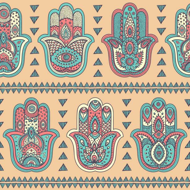 vektor indische hand drawn hamsa nahtlose muster - mantra stock-grafiken, -clipart, -cartoons und -symbole