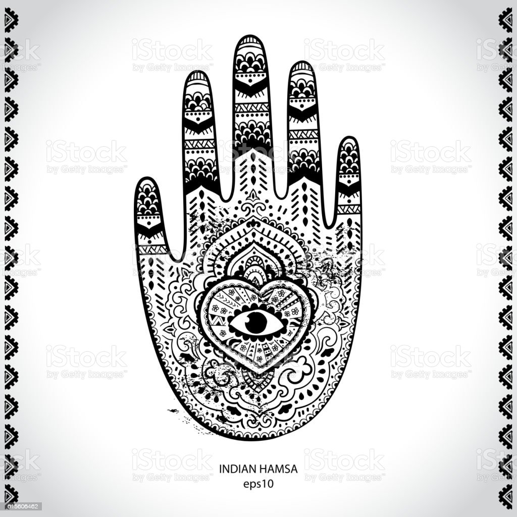 Vector Indian Hand Drawn Hamsa Symbol Ornament Print Ethnic Man