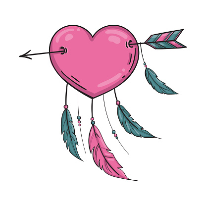 Vector Indian Heart With Arrow And Ornament Stock ...