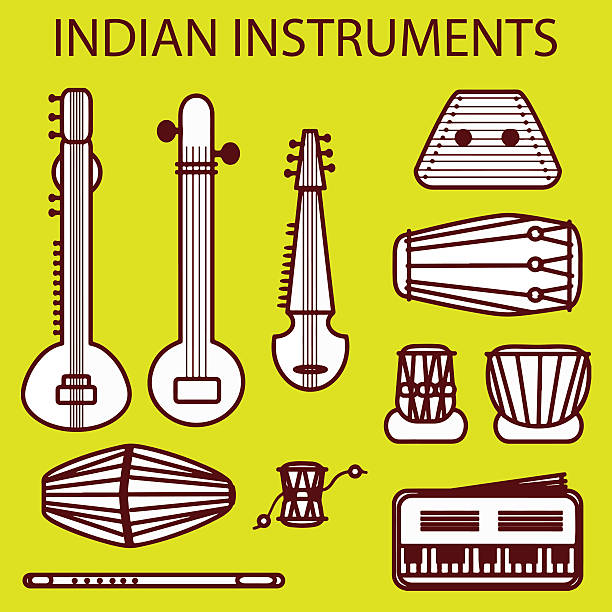 vector indian instruments Isolated traditional indian instruments. Vector set for design tavla stock illustrations