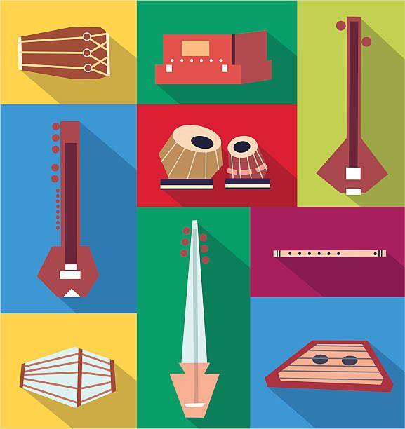 Vector indian instruments Traditional indian instruments. Vector flat set. Stock illustration tavla stock illustrations