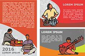 Indian musician poster template with text. Vector stock set for design