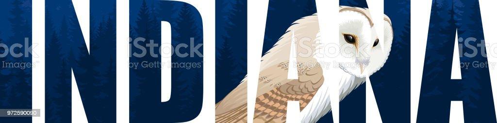 載體印第安那美國狀態詞與穀倉貓頭鷹 (tyto)向量藝術插圖