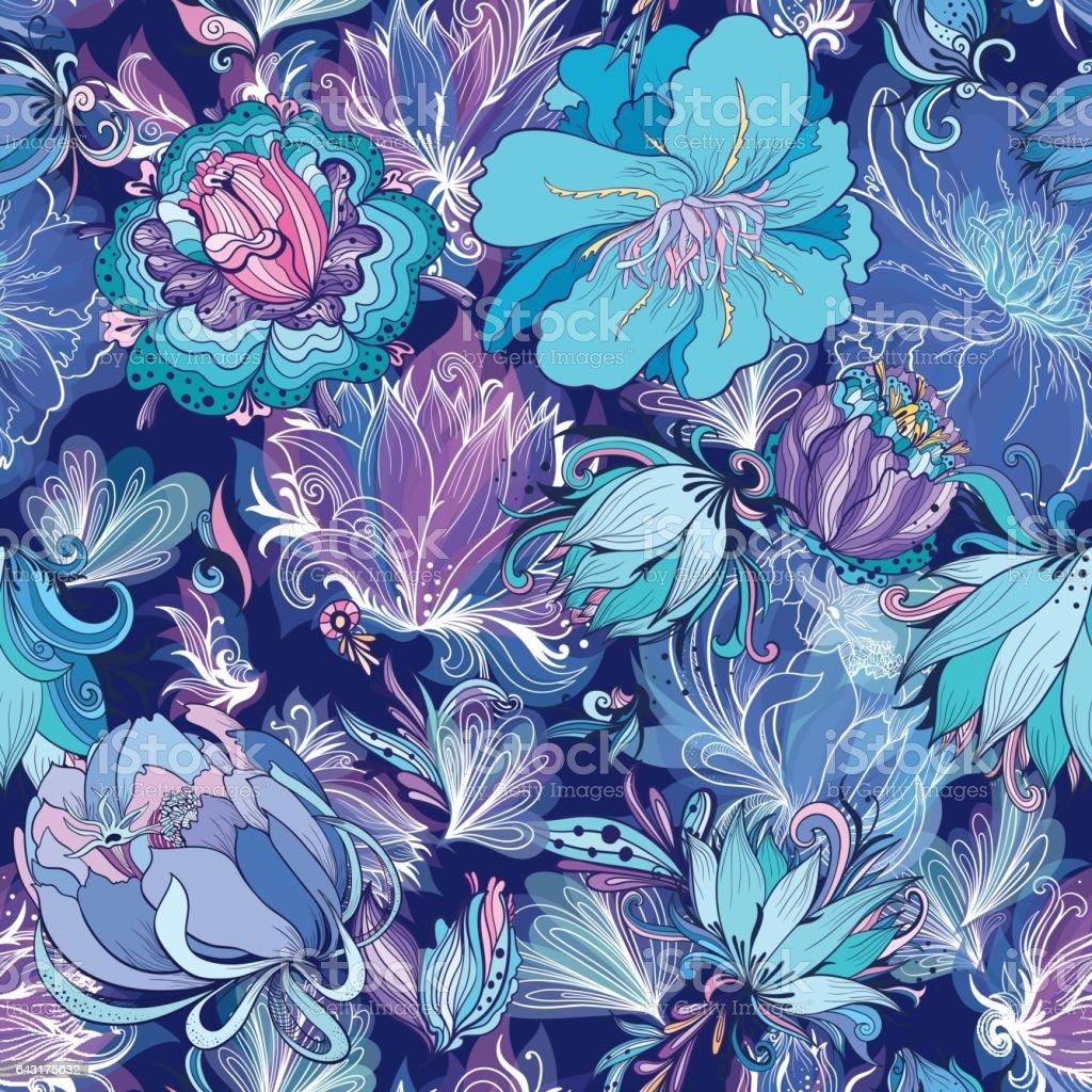 Vector Indigo Flower Pattern vector art illustration