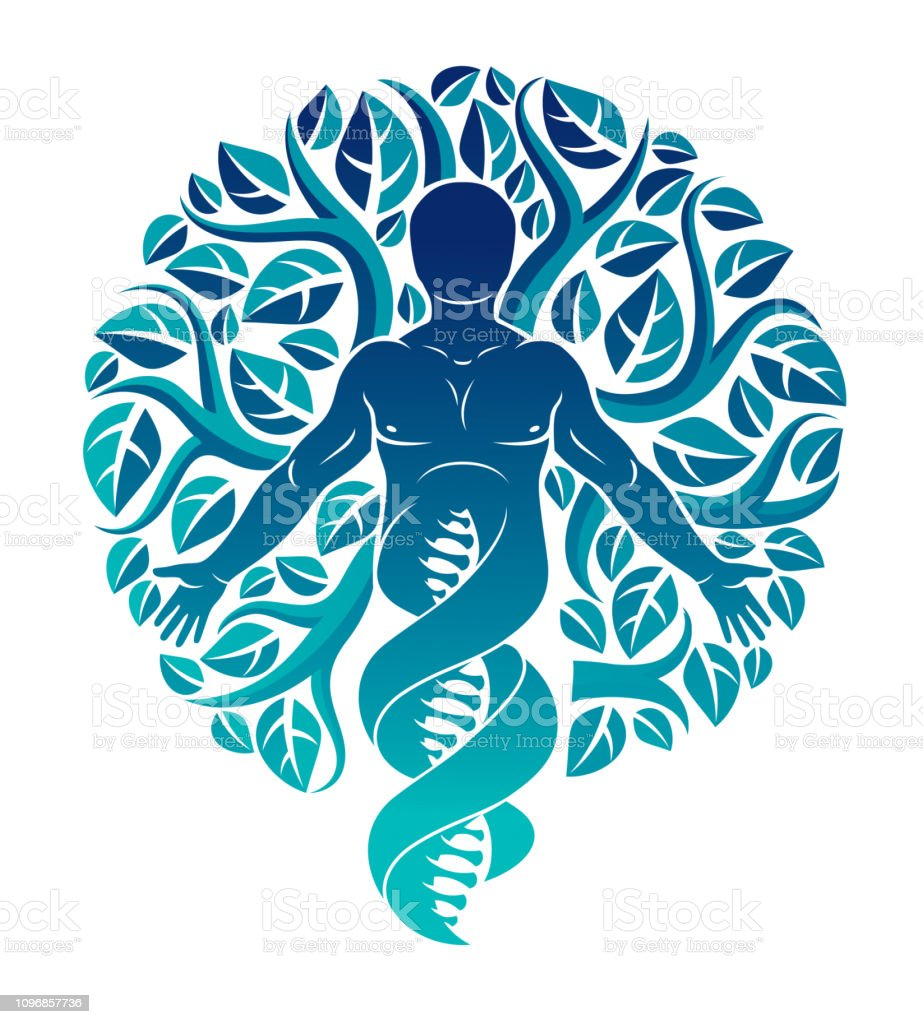 Vector individual, mystic character deriving from DNA strands and made with  eco tree leaves.