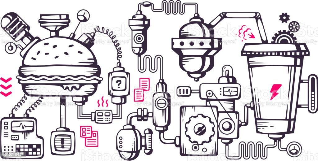 Vector industrial illustration background of the operating mechanism. vector art illustration