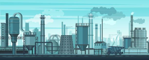 illustrations, cliparts, dessins animés et icônes de fond de paysage industriel de vecteur. industrie, usine et la fabrication. problème de la pollution d'environnement. - infographie industrie manufacture production