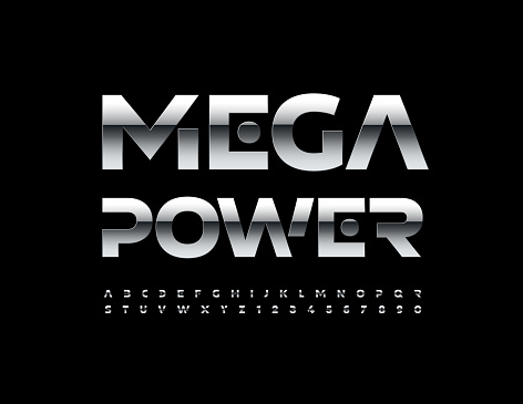 Vector industrial sign Mega Power. Glossy metallic Alphabet Letters and Numbers set