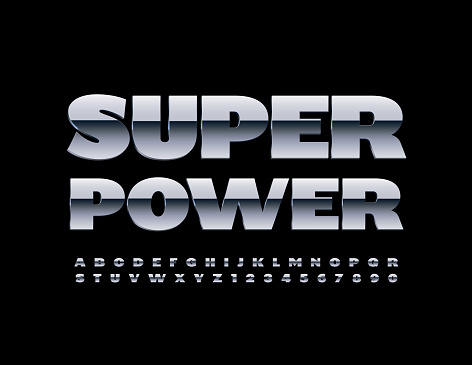 Vector industrial sign Super Power. Silver Glossy Alphabet Letters and Numbers set