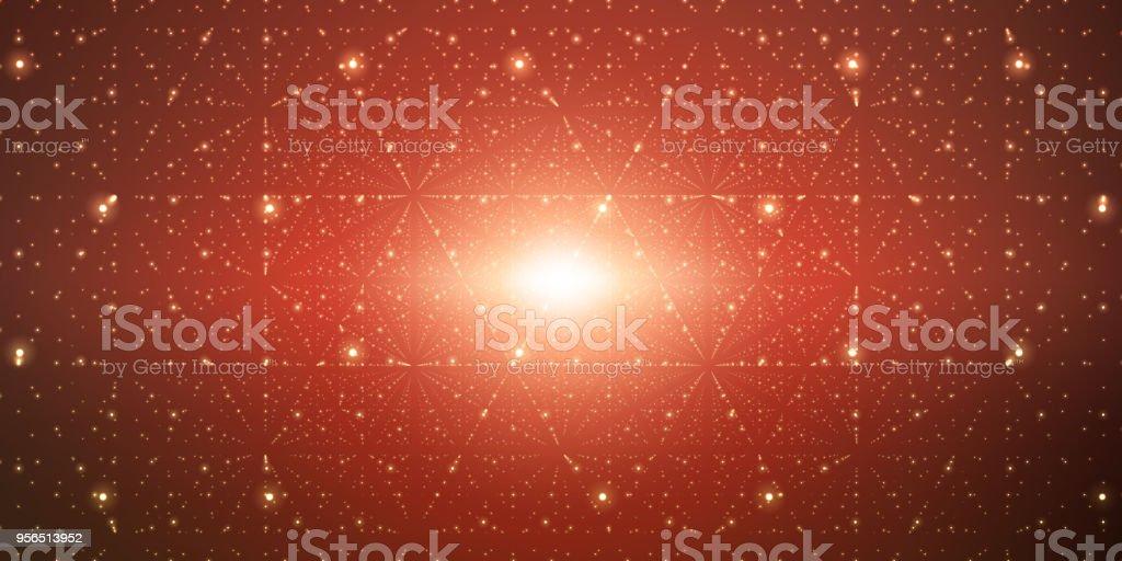 Vektor unendlichen Raum Hintergrund. Matrix von leuchtenden Sternen mit Illusion von Tiefe, Perspektive. Geometrischen Hintergrund mit Punkt-Array als Gitter. Abstrakte futuristischen Universum auf dunkelroten Hintergrund. - Lizenzfrei Abstrakt Vektorgrafik