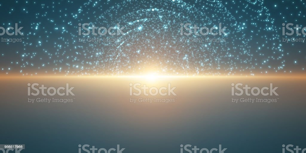 Vektor unendlichen Raum Hintergrund. Matrix von leuchtenden Sternen mit Illusion von Tiefe und Perspektive. Abstrakte Cyber feurigen Sonnenaufgang über dem Meer. Abstrakte futuristischen Universum auf hellblauem Hintergrund. - Lizenzfrei Abstrakt Vektorgrafik