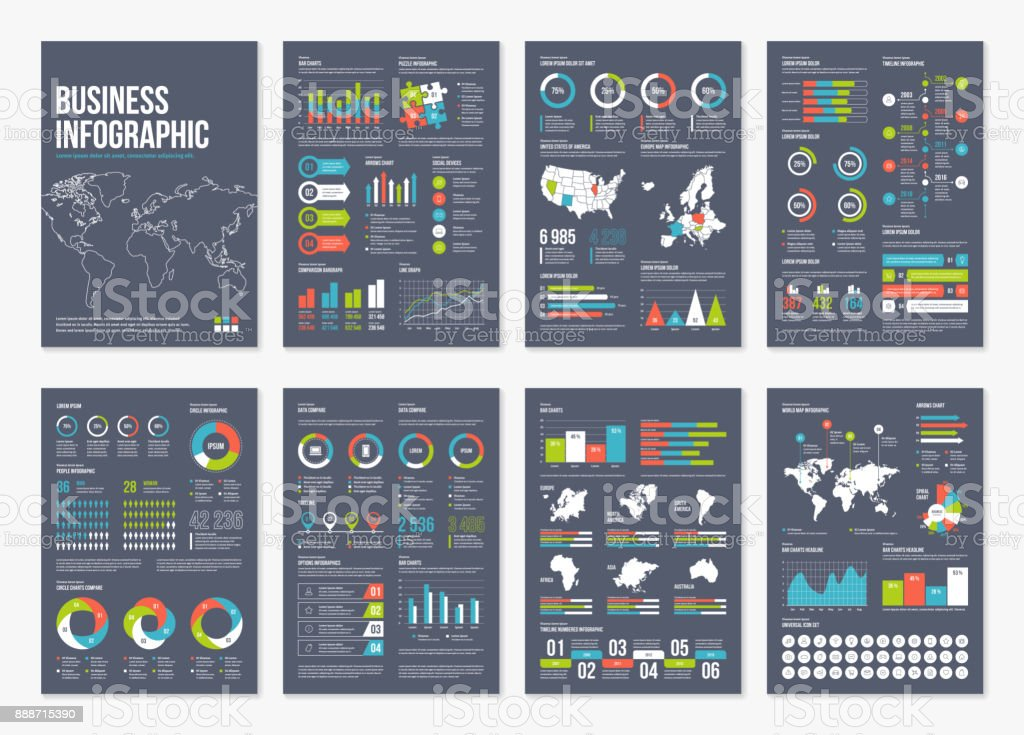 Vector infographic A4 brochure elements. vector art illustration