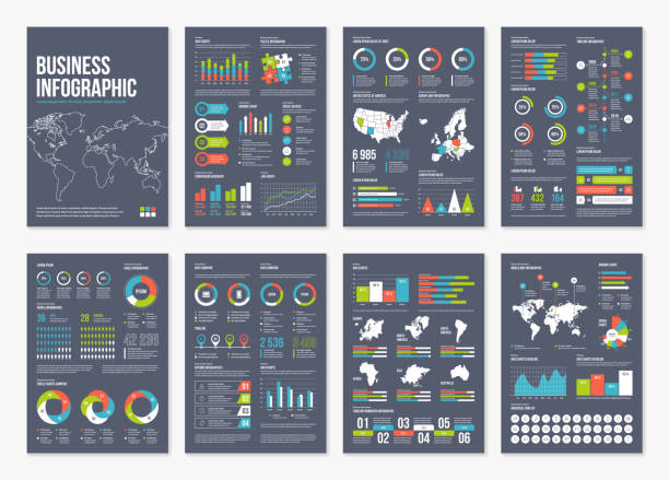 vector infographic a4 brochure elements. - infographics stock illustrations, clip art, cartoons, & icons