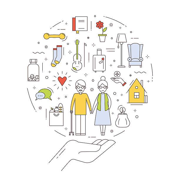 illustrations, cliparts, dessins animés et icônes de vector infographic about social support, help and rights for elderly - gériatrie