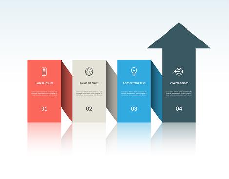 Vector Infographic Arrow Template With 4 Steps Can Be Used For Web Design Timeline Diagram Chart Graph Business Presentation - Stockowe grafiki wektorowe i więcej obrazów Abstrakcja