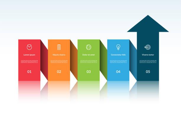 vector infographische pfeilvorlage mit 5 schritten. kann für web-design, timeline, diagramm, diagramm, diagramm, business-präsentation verwendet werden. - schaubild stock-grafiken, -clipart, -cartoons und -symbole