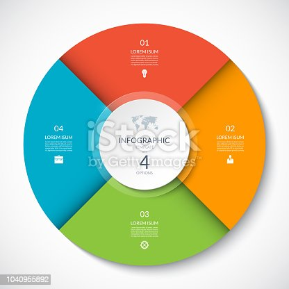 Vector infographic circle. Cycle diagram with 4 options. Can be used for chart, graph, report, presentation, web design.