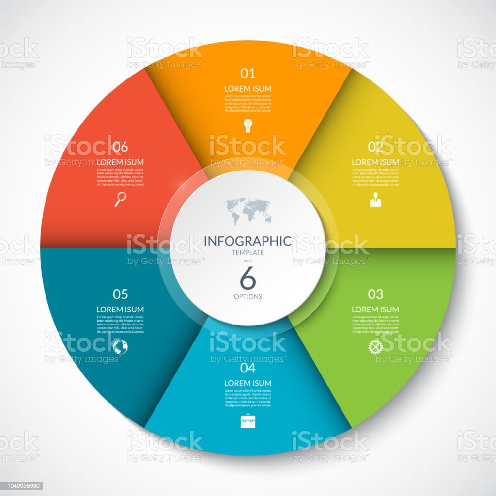 Vector infographic circle. Cycle diagram with 6 options. Can be used for chart, graph, report, presentation, web design. royalty-free vector infographic circle cycle diagram with 6 options can be used for chart graph report presentation web design stock illustration - download image now