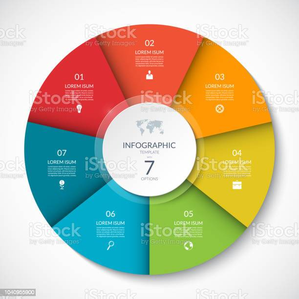 Vector infographic circle cycle diagram with 7 options can be used vector id1040955900?b=1&k=6&m=1040955900&s=612x612&h=rghgmofc2pm2cko6il czfuzurzm018txuavc2gn8ea=