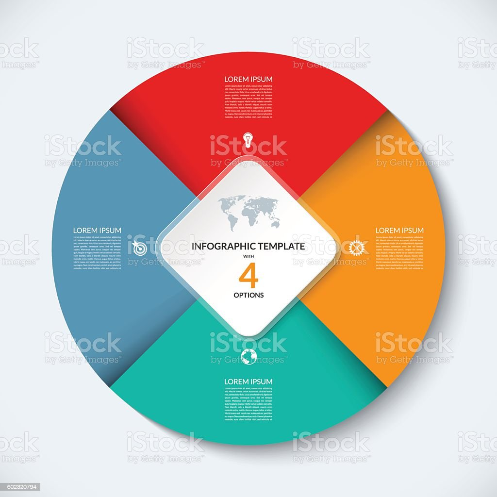 Vector infographic circle template. Business concept with 4 options vector art illustration