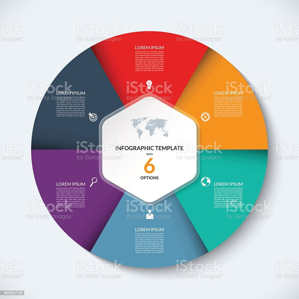 vector infographic circle template business concept with 6 options