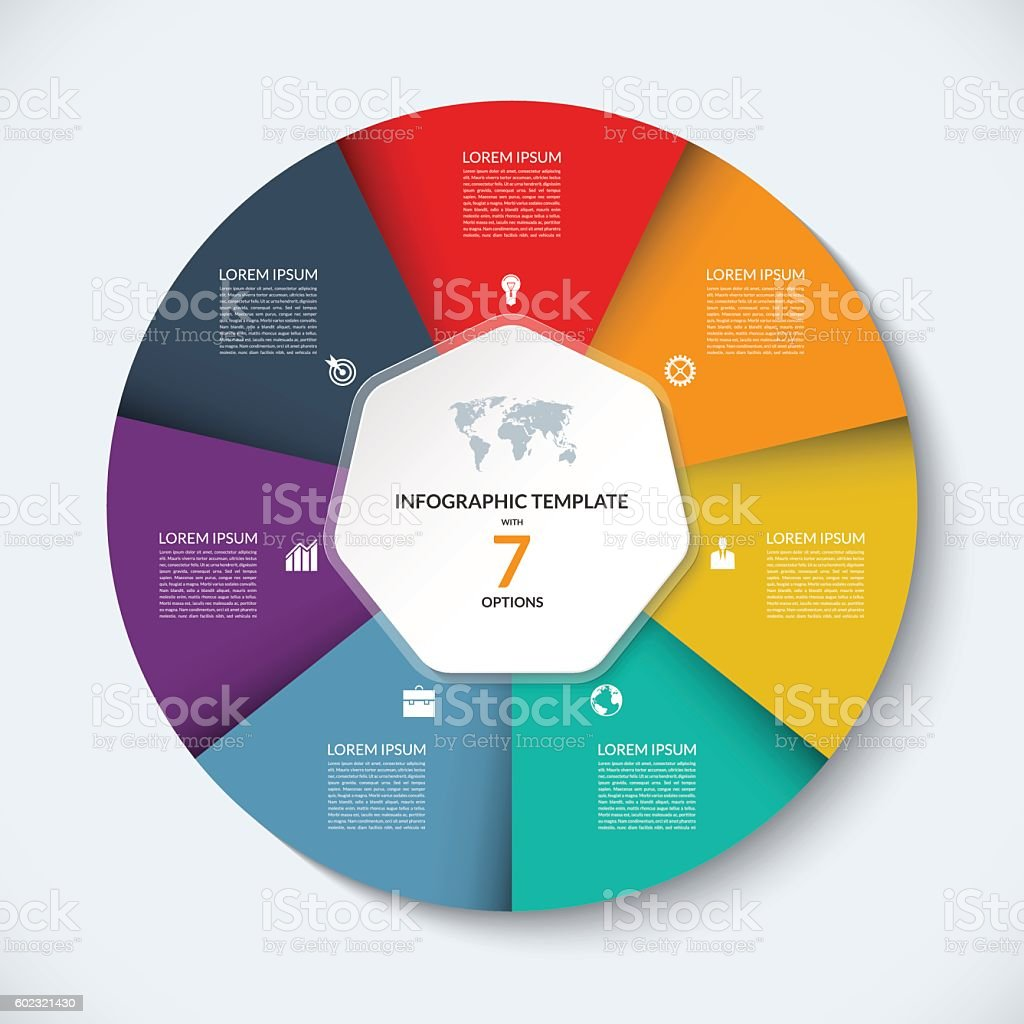 Vector infographic circle template. Business concept with 7 options vector art illustration