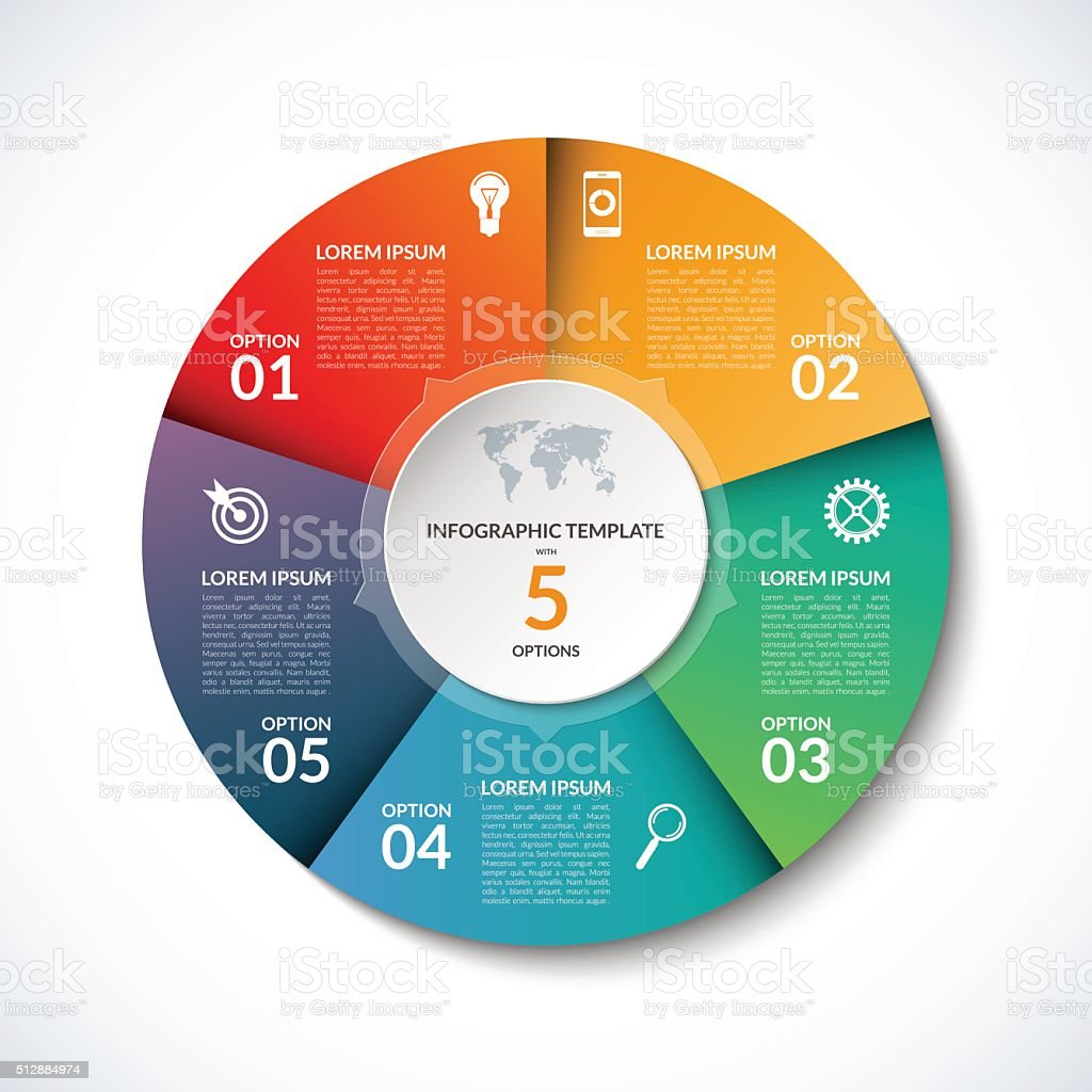 Vector infographic circle template with 5 steps, parts, options vector art illustration
