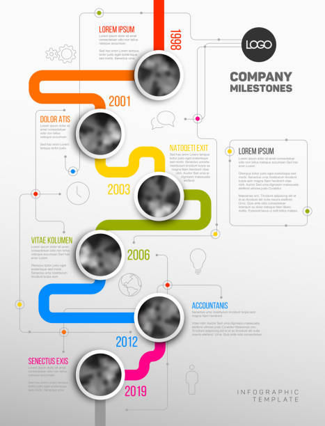 vector infographic company milestones timeline template - vertical stock illustrations, clip art, cartoons, & icons