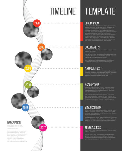 vector infographic company milestones timeline template - vertical stock illustrations
