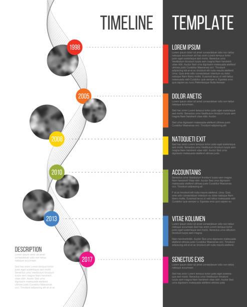 ilustrações de stock, clip art, desenhos animados e ícones de vector infographic company milestones timeline template - vertical