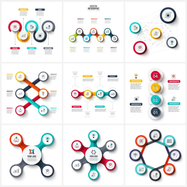 Vector infographic design template. Business concept with 4, 5, 6, 7 and 8 options, parts, steps or processes. Can be used for workflow layout, diagram, number options, web design. Data visualization. Vector infographic design template. Business concept with 4, 5, 6, 7 and 8 options, parts, steps or processes. Can be used for workflow layout, diagram, number options, web design. Data visualization. organization chart stock illustrations