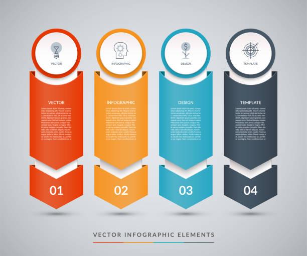 向量資訊圖設計範本以紙箭的形式指向下。可用於網頁設計、圖表、圖表、圖表、步進選項、業務演示。 - 垂直構圖 幅插畫檔、美工圖案、卡通及圖標