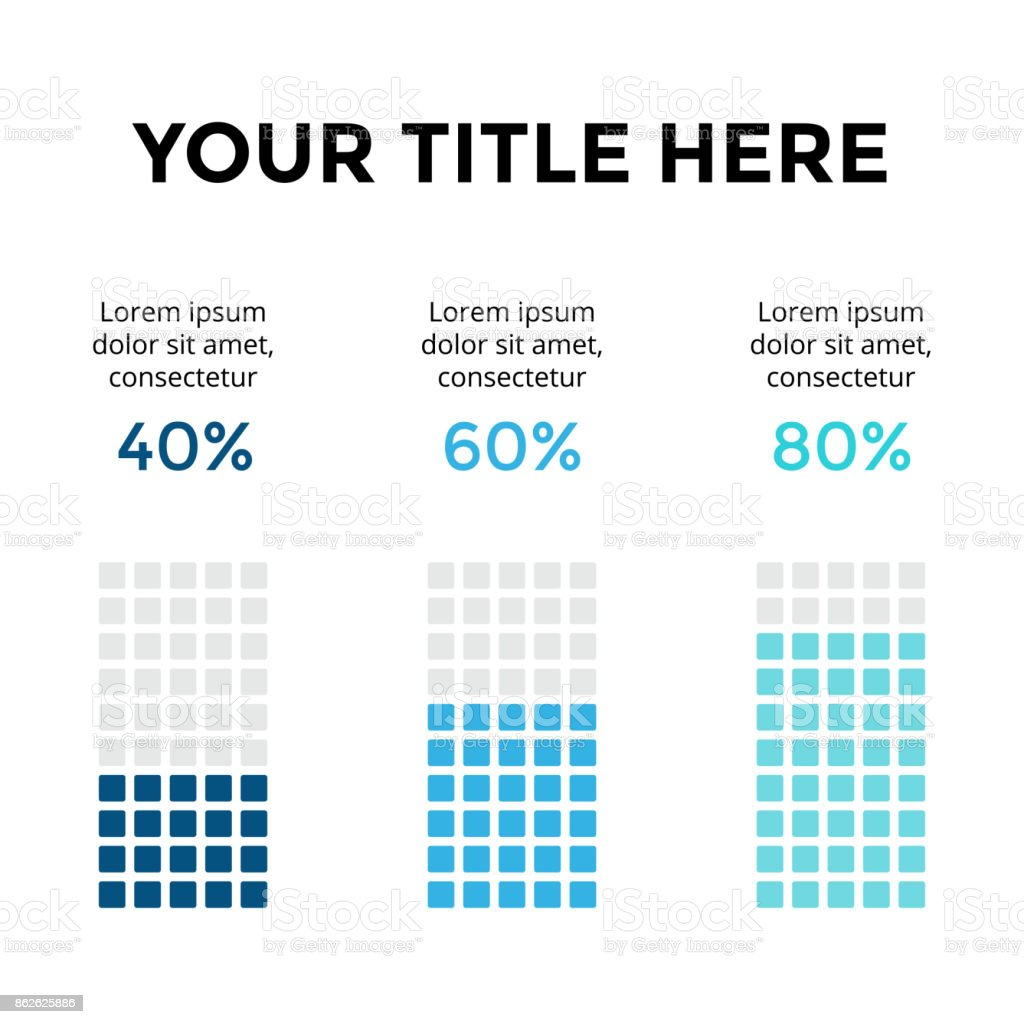 Vector infographic, diagram chart, graph presentation. Business template with 3 options, parts, steps, processes. 40, 60, 80 percents. Percentage complete status. Flat trendy minimal design vector art illustration