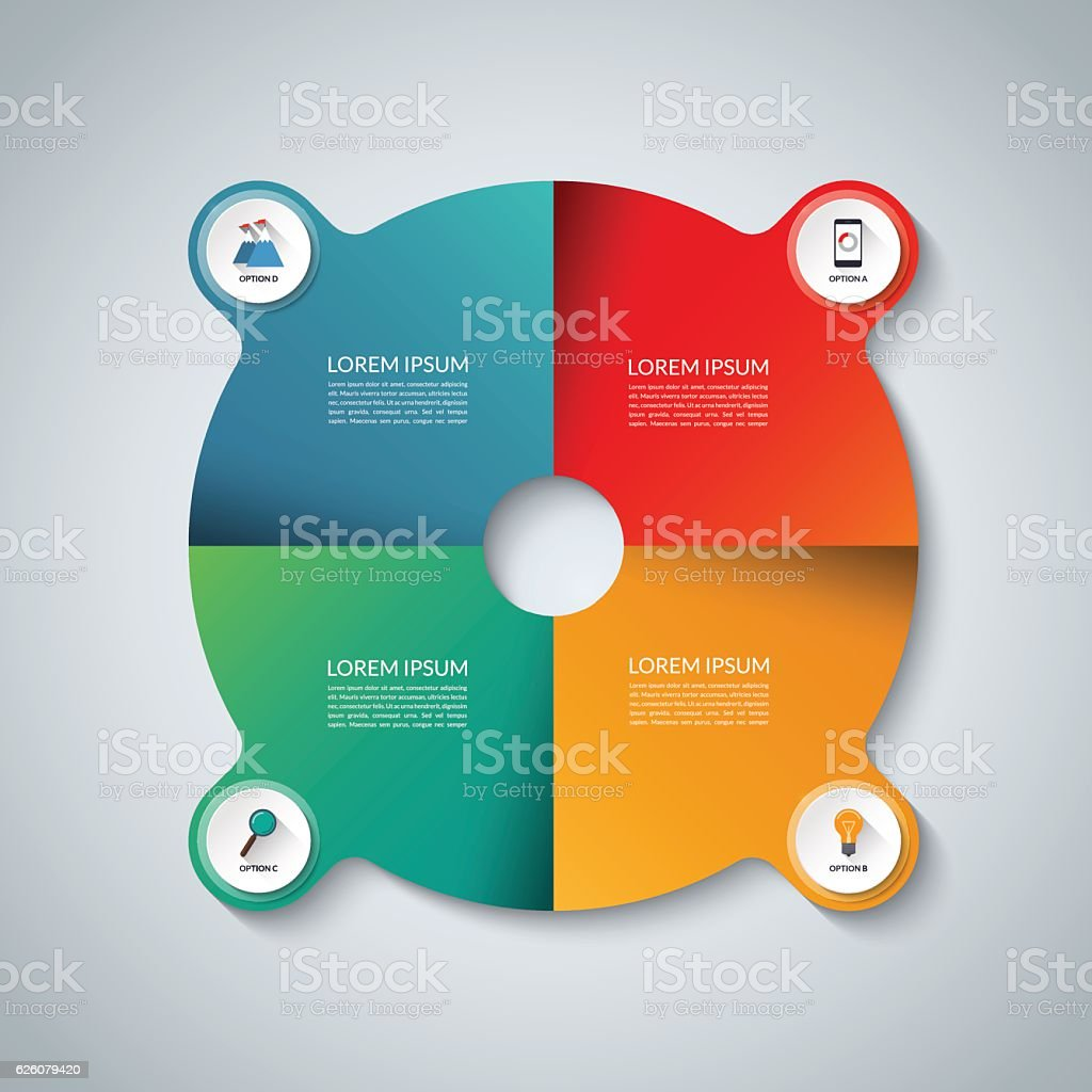 Vector infographic elements. Circle business template with 4 options vector art illustration