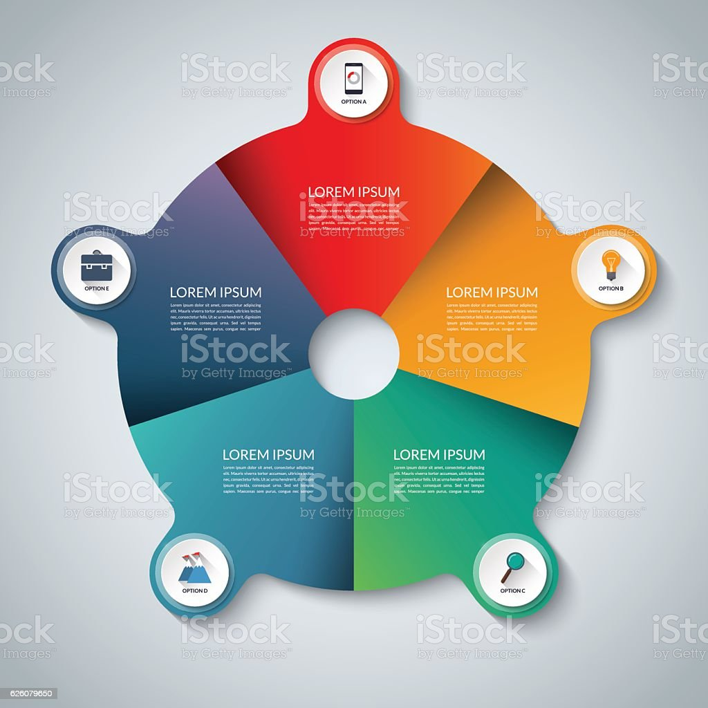 Vector infographic elements. Circle business template with 5 options vector art illustration