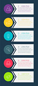 Vector infographic flat template circles for six label, diagram, graph, presentation. Business concept with 6 options and arrows. For content, flowchart, steps, timeline, workflow, marketing. EPS10