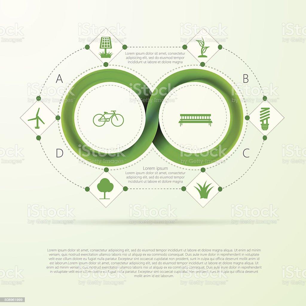 Vektorinfografik Für Ökologie Mit Mobius Streifen Stock