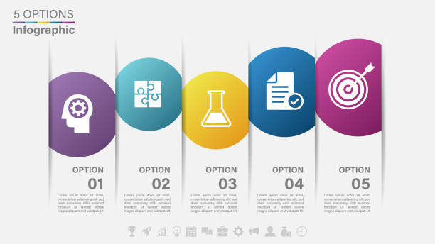 Vector Infographic label design with icons and 5 options or steps Infographics for business concept. Vector illustration. topics stock illustrations