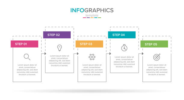 szablon etykiety infograficznej wektorowej z ikonami. 5 opcji lub kroków. infografiki dla koncepcji biznesowej. może być używany do grafiki informacyjnej, schematów blokowych, prezentacji, stron internetowych, banerów, materiałów drukowanych. - postęp stock illustrations