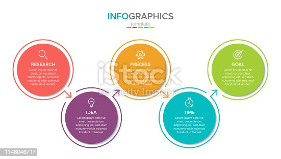 Vector infographic label template with icons. 5 options or steps. Infographics for business concept. Can be used for info graphics, flow charts, presentations, web sites, banners, printed materials