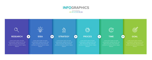 vector infographic label template with icons. 6 options or steps. infographics for business concept. can be used for info graphics, flow charts, presentations, web sites, banners, printed materials. - infografiki stock illustrations