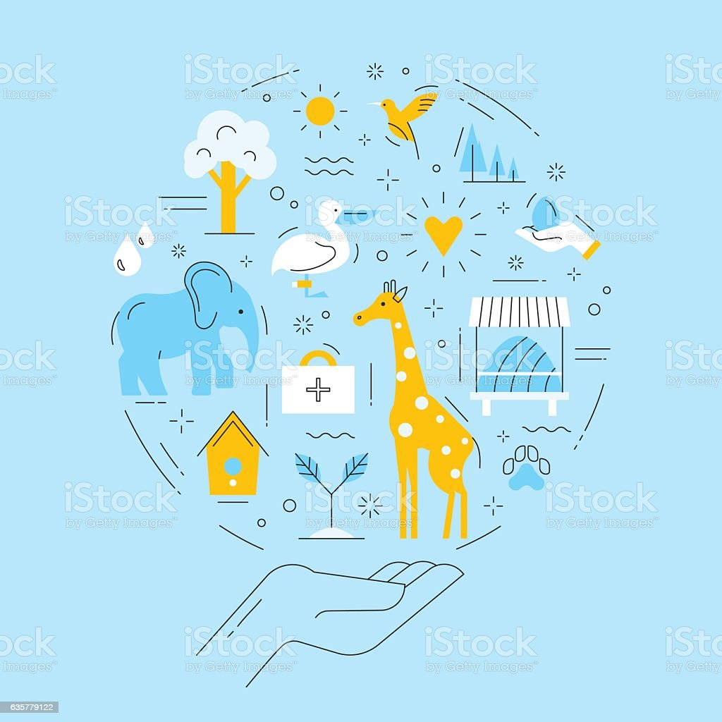 Vector infographic of conservation wild animals and environment. vector art illustration