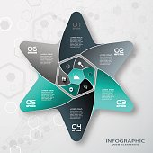 Vector infographic of hexagon form and color star with 6 rays cut from paper with shadows, icons with long shadows on the gradient gray background with hexagon pattern.