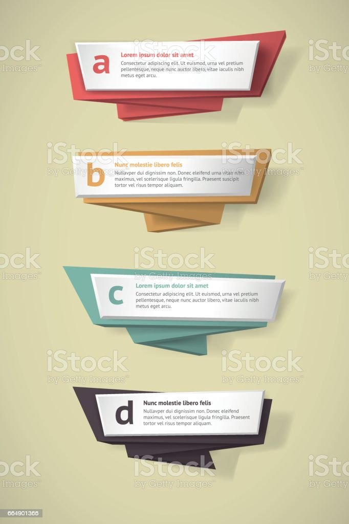 Vector infographic origami banners set. vector infographic origami banners set - immagini vettoriali stock e altre immagini di badge royalty-free