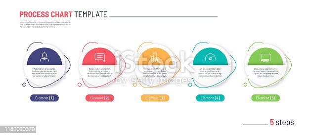 Vector infographic process chart template. Five steps.