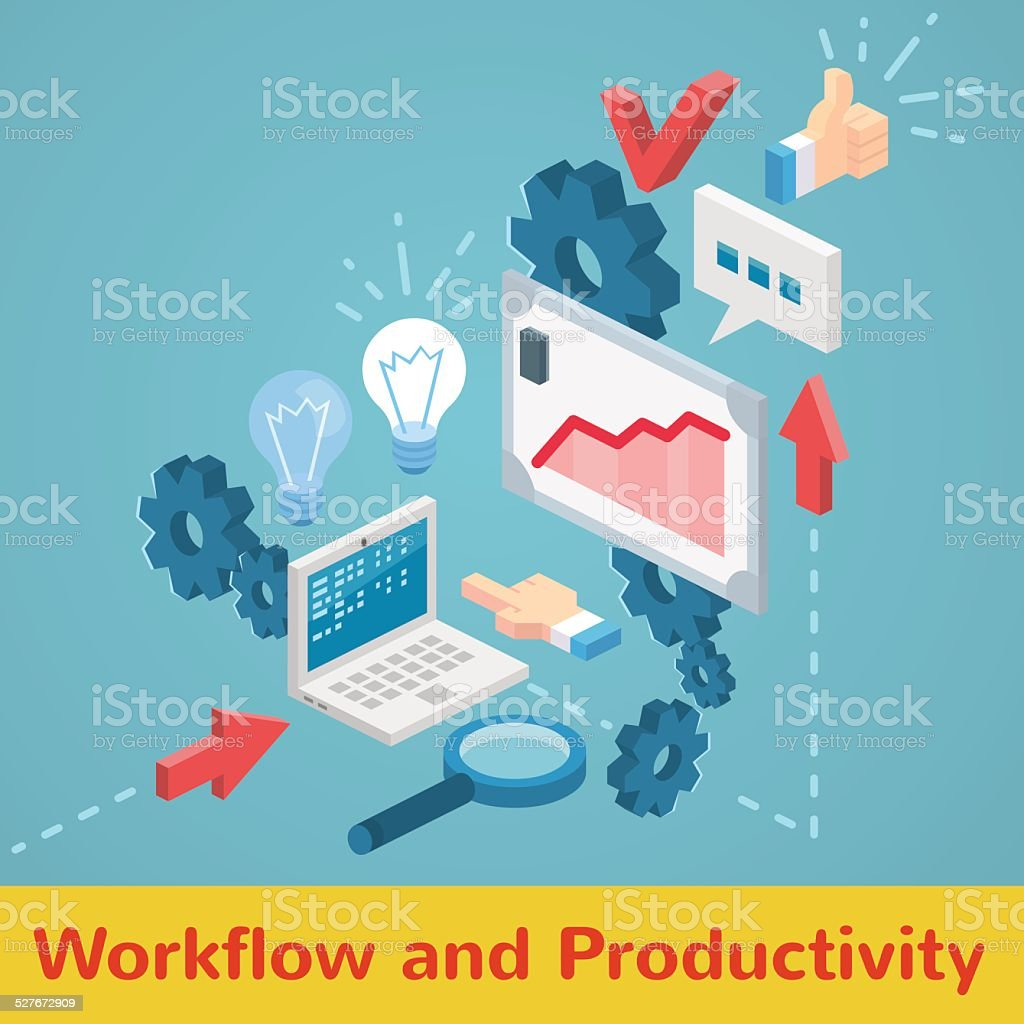 Vector infographic productivity and workflow vector art illustration
