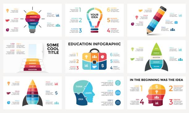 Vector infographic set, light bulb idea, education diagram, knowledge chart, startup rocket, travel bag, human head brain, learn study graph presentation, stairs open door. 3, 4, 5, 6 options, parts, steps, processes vector art illustration
