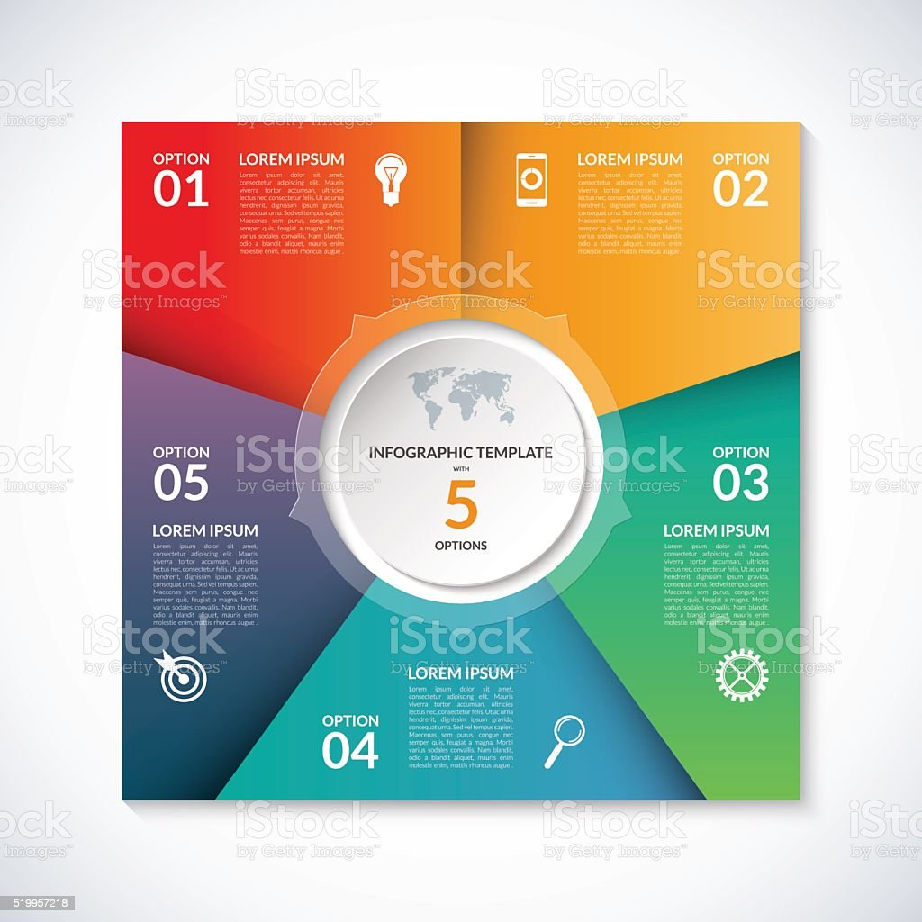 Vector infographic square template with 5 options vector art illustration